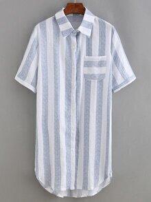 Vertical Striped Shirt Dress