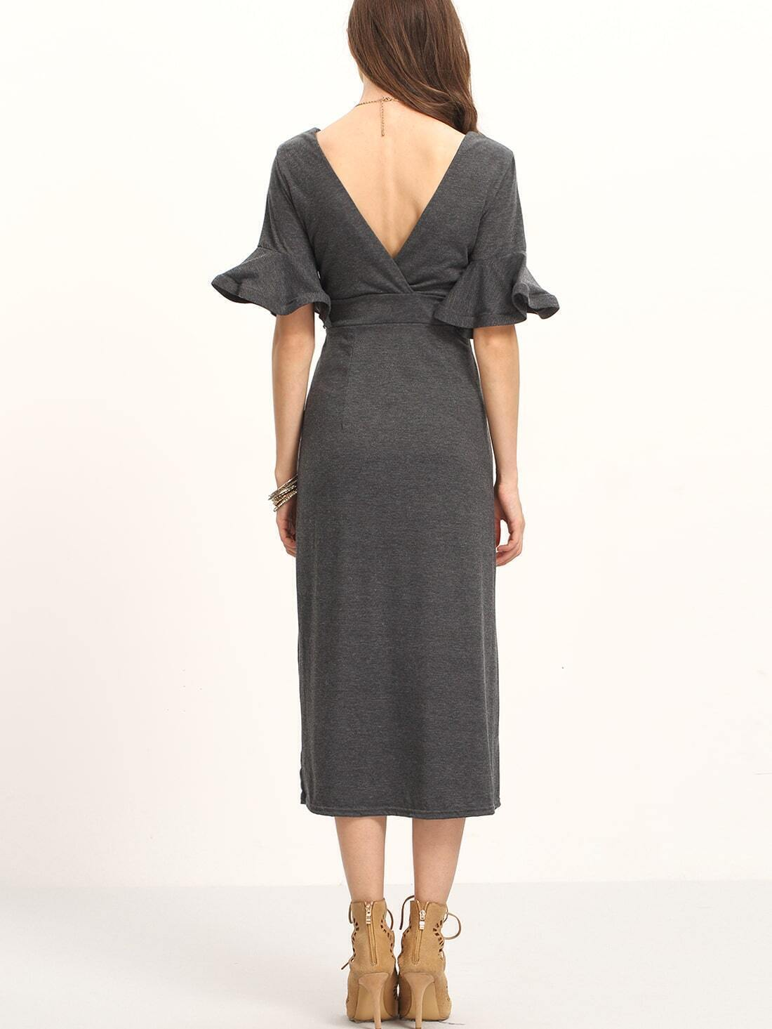 robe longue col v manche evasee gris french romwe With robe évasée manche longue