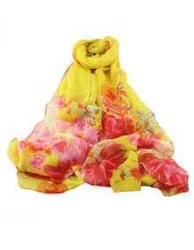 Yellow Voile Flower Printed Scarf