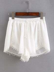 Elastic Waist Drawstring Shorts With Pom Pom
