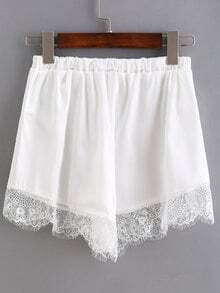 Elastic Waist Lace Hem Shorts