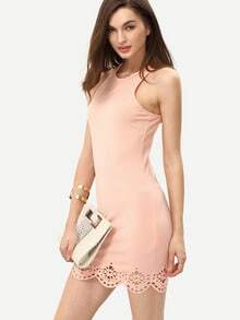 Peach Turtle Neck Elasticated Sleeveless Bodycon Dress