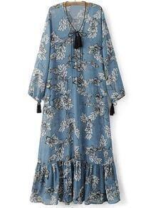 Blue Tie Neck Tassels Flowers Print Maxi Dress