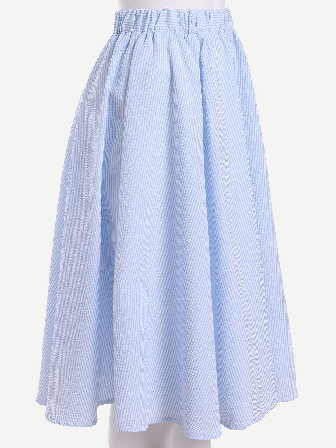 light blue striped midi skirt
