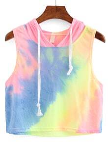 Rainbow Ombre Hooded Crop Top