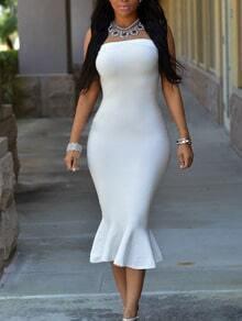 White Ruffled Hem Bandeau Bodycon Dress