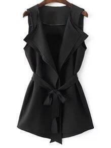 Black Tie-Waist Bow Vest Outerwear