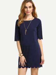 Navy Scalloped Hem Shift Dress