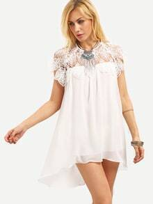 White Lace Insert Ruffled Hem Chiffon Dress