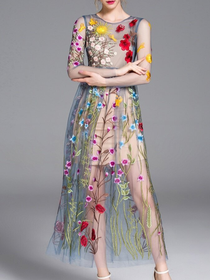 Blue Sheer Gauze Embroidered Maxi Dress