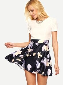 Contrast Flower Print 2 In 1 Skater Dress