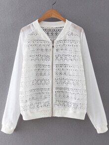 White Zipper Front Chiffon Splicing Crochet Lace Outerwear