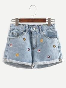 Blue Embroidered Cuffed Denim Shorts