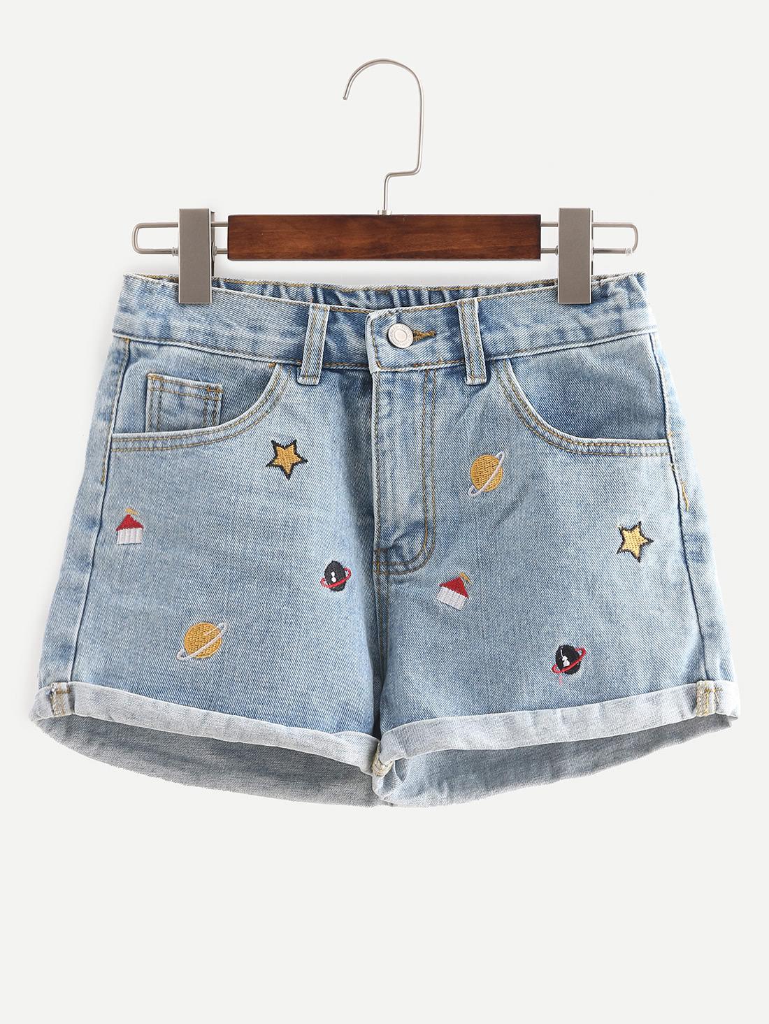 Blue Embroidered Cuffed Denim Shorts  285b0a9eec40