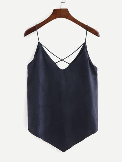 Faux suede lattice cami top blue for Acheter maison suede