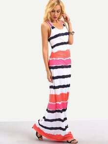 Multicolor Tie Dye Striped Maxi Tank Dress