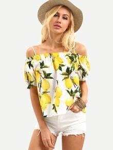 Cold Shoulder Lemon Print Top - Yellow