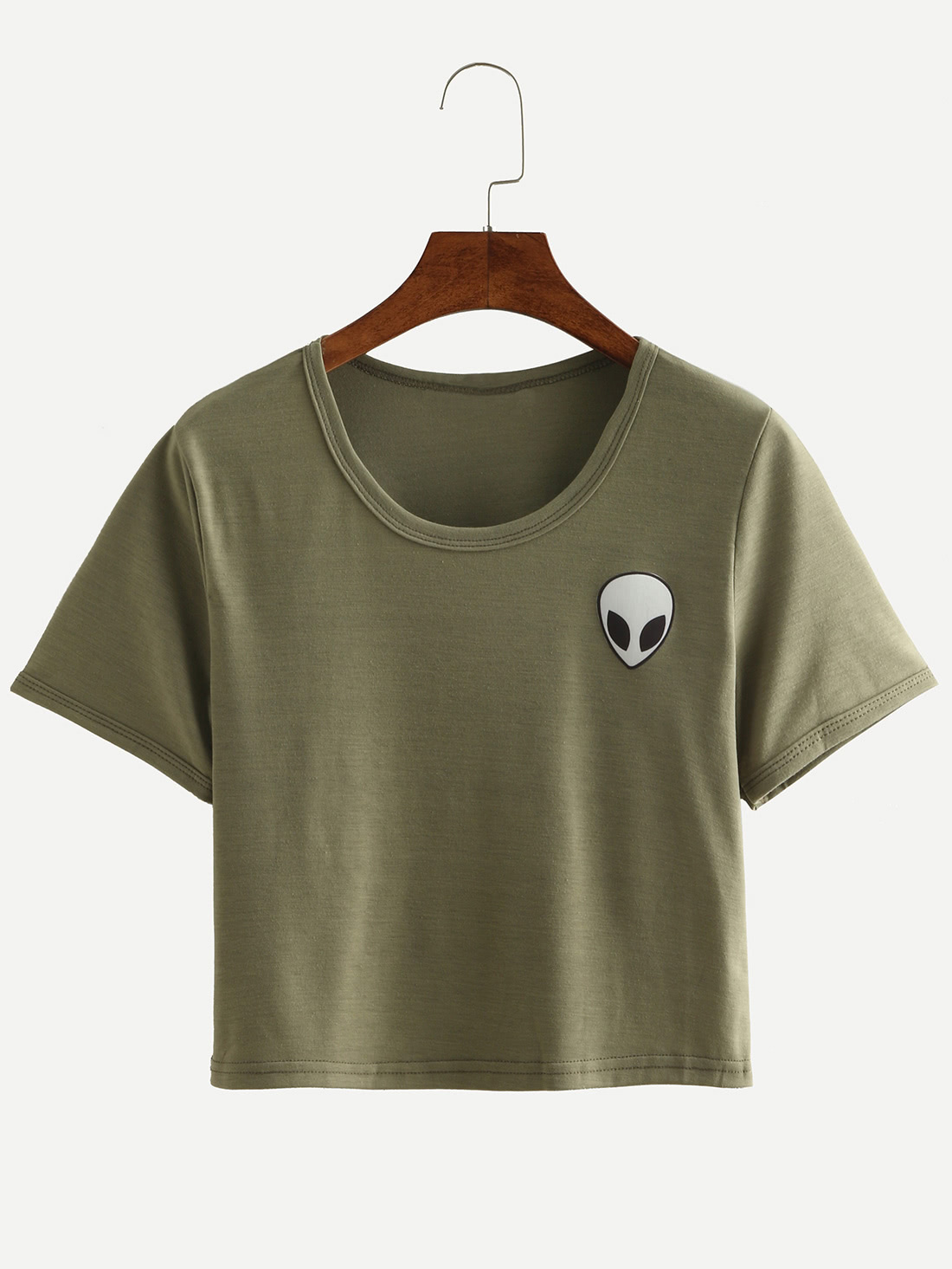 Alien Print Crop T Shirt Olive Greenfor Women Romwe