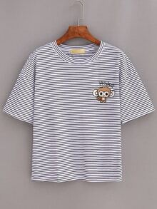 Monkey Embroidered Drop Shoulder Striped T-shirt - White