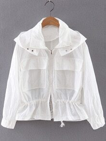 White Long Sleeve Pockets Hooded Sunscreen Outerwear