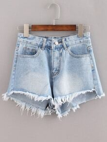 Raw Hem Light Blue Denim Shorts