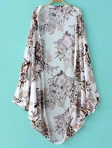 Multicolor Batwing Sleeve Printed Cardigan Kimono