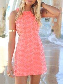 Sleeveless Flower Lace Sheath Dress - Orange