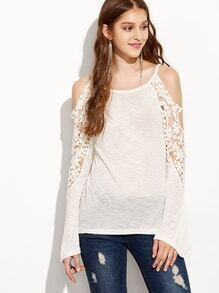 Cutout Shoulder Lace Insert Long Sleeve Top - White