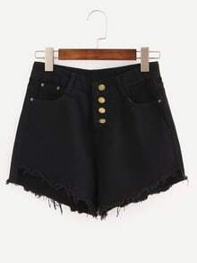 Black Fringe Single Breasted Denim Shorts