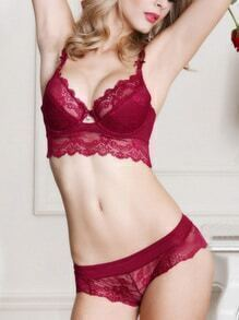 Lace Corset Bra Set - Burgandy