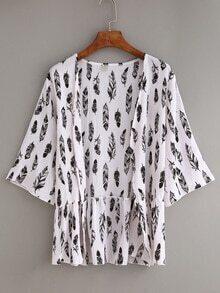Feather Print Ruffle Chiffon Kimono