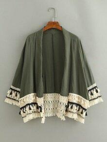 Tassel Trimmed Plain Kimono - Olive Green
