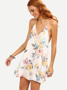 Multicolor Flower Print Strappy Swing Cami Dress