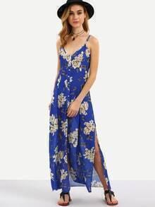 Buttoned Front Flower Print Slit Cami Dress - Blue