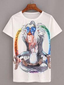Cartoon Baboon Print White T-shirt