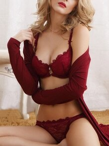 Push-Up Lace Bra Set - Burgandy