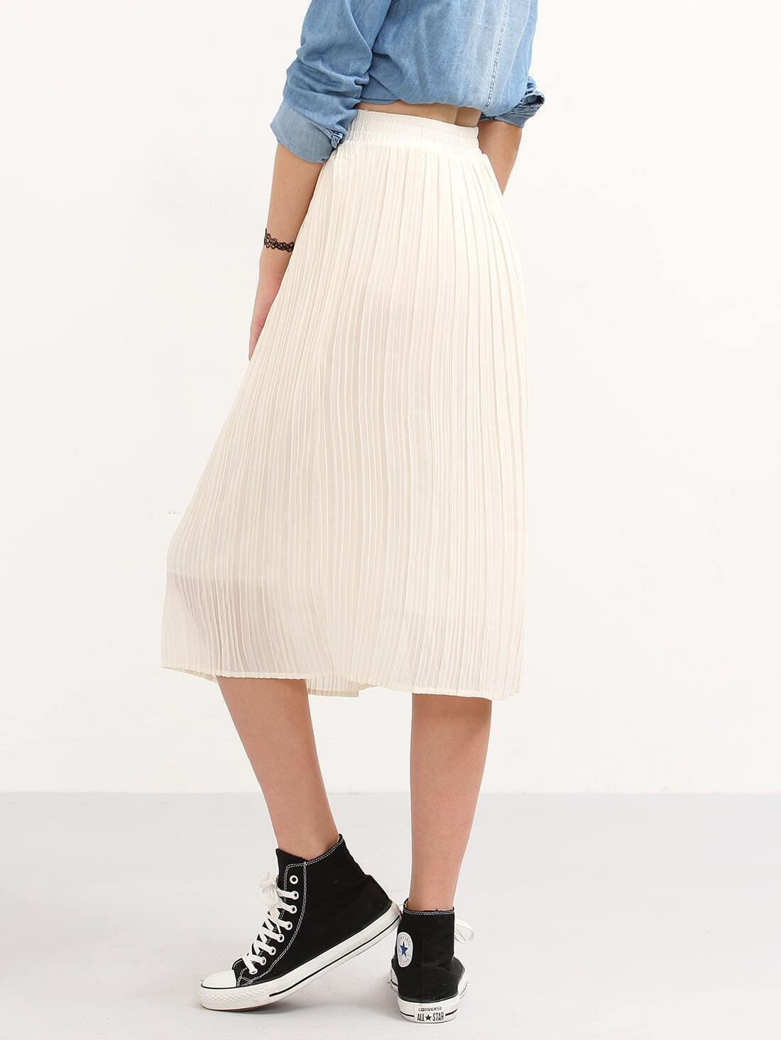 pleated chiffon midi skirt white