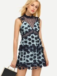 Deep V Neck Sheer Mesh Sleeveless Dress With Appliques