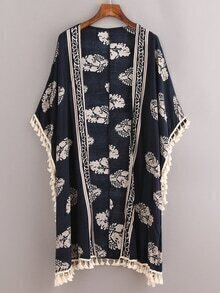 Navy Leaves Print Fringe Kimono