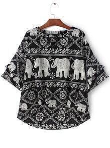 Black White Bell Sleeve Elephants Print Blouse