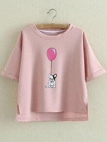 Pink Roll Cuff Dipped Hem Dog Balloon Printing T-shirt