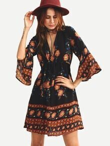 Double V-Neck Bell Sleeve Multicolor Flower Print Dress