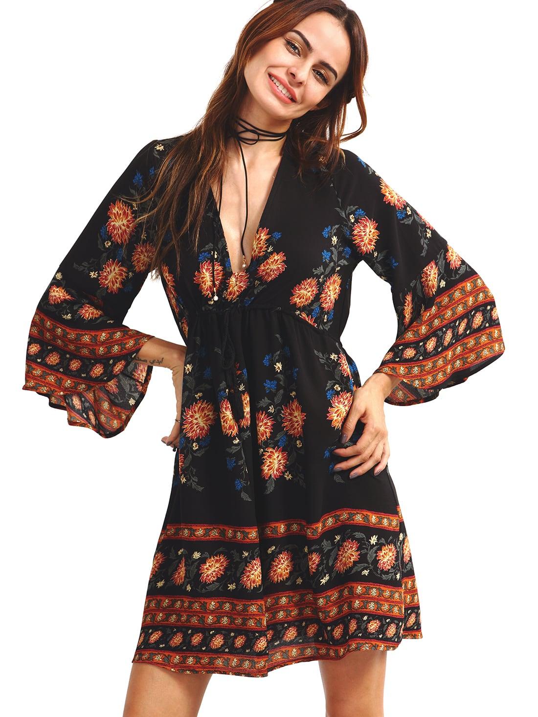 d53c118d8312b Double V-Neck Bell Sleeve Multicolor Flower Print Dress