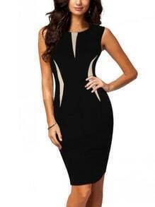 Color Panel Sleeveless Pencil Dress - Black