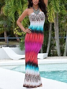 Multicolor Printed Bandeau Maxi Dress