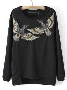 Black Dip Hem Long Sleeve Birds Embroidery Sweatshirt