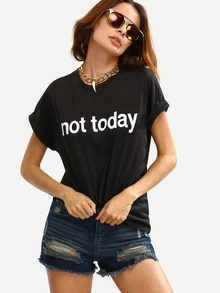 Black Crew Neck Letters Printed Cuffed Sleeve T-Shirt