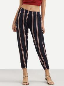 Navy Vertical Stripe Print Peg Pants