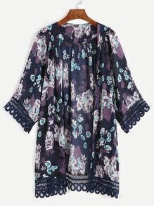 Navy Floral Print Lace Trimmed Kimono