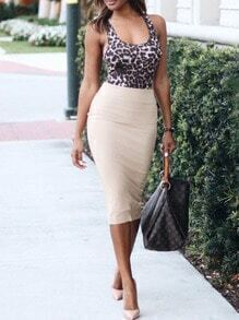 Scoop Neck Leopard Split Pencil Dress
